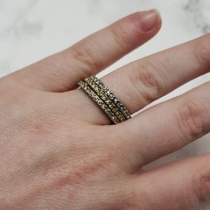 Ann Taylor Mixed Metal Pave Ring Set